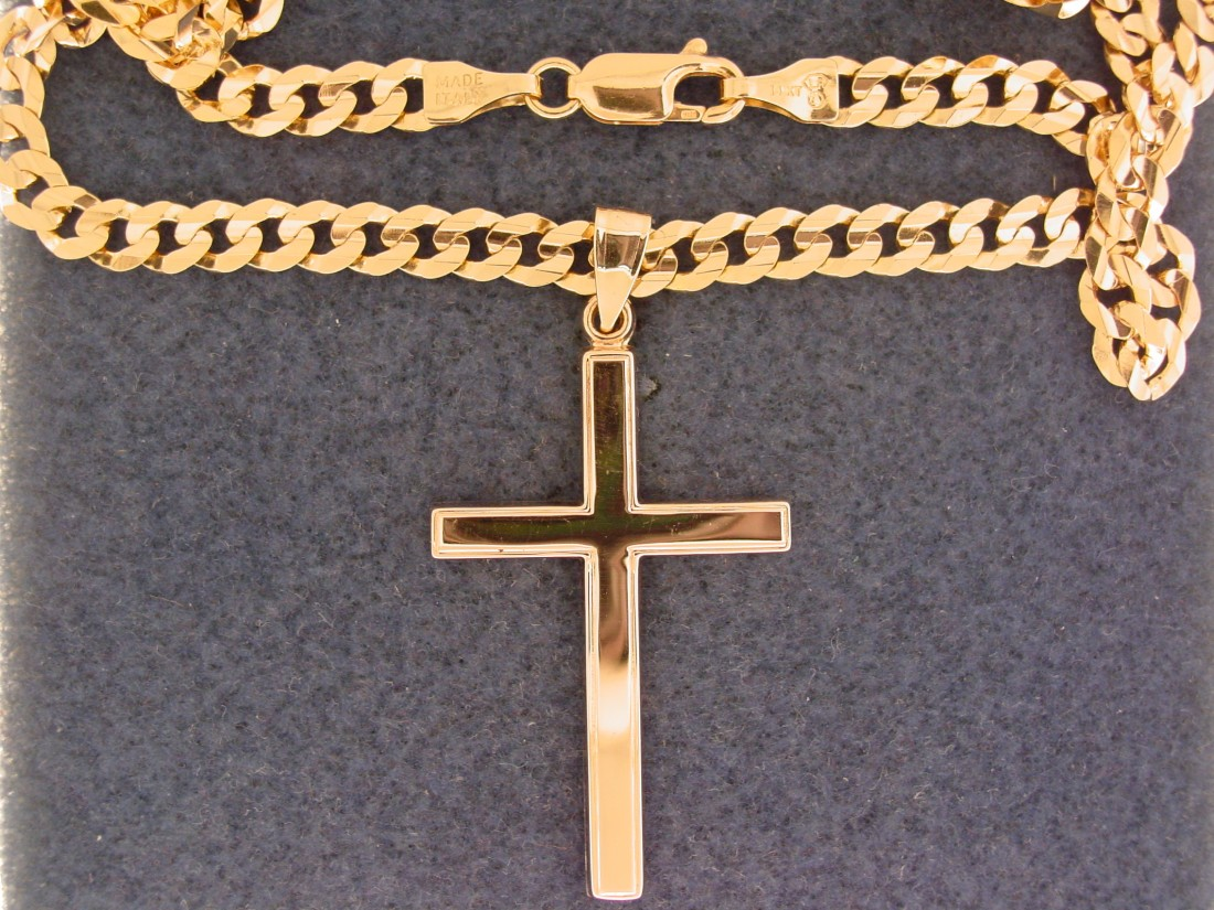 The gift of Easter, the gift of Easter jewelry - Blog - Chantelle Jewelers - High_Polished_Cross_%26_Curb_Chain